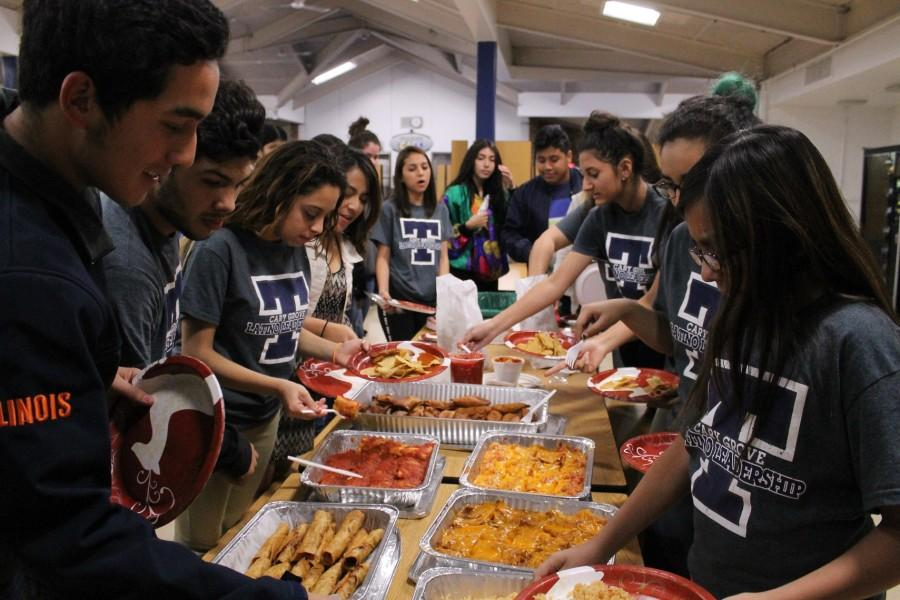 Students in the Latino Leadership Club celebrate with a meal of Latino cuisine.